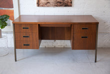 Load image into Gallery viewer, Walnut Pedestal Ironwork Desk Restored