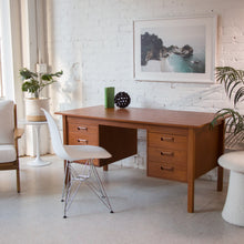 Load image into Gallery viewer, Teak Pedestal Desk with Filing Cabinet