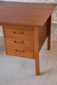 Teak Pedestal Desk with Filing Cabinet