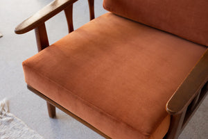 Burnt Orange Velvet Lounge Chair