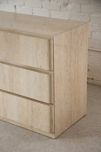 1980's Faux Travertine Six Drawer Dresser