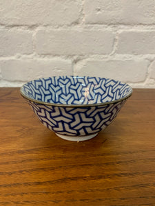 Blue & White Geometric Bowl