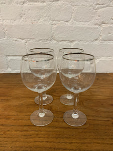 Silver Rimmed Wine Glasses - Set of 4