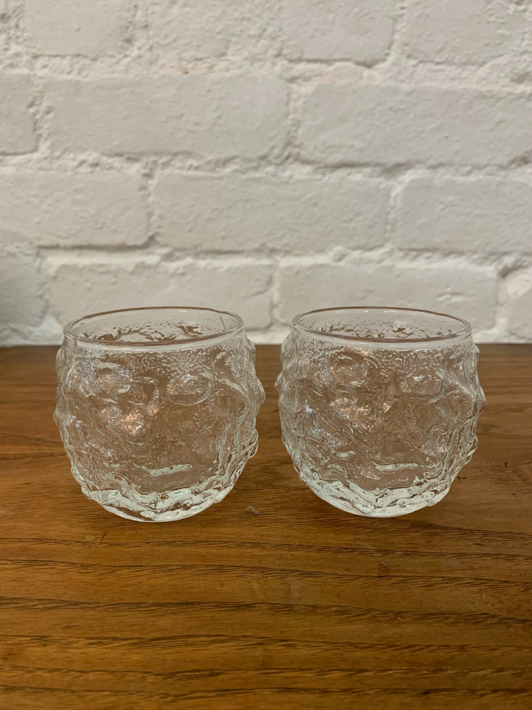 1960's Lava Rock Glass Tumblers  - Set of 2