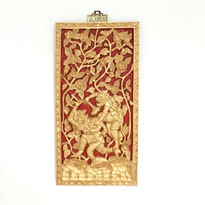 Red And Gold Framed Wood Carved Wood Art
