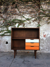 Load image into Gallery viewer, Mid Century Walnut Bookshelf with Orange Drawers