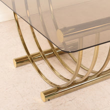 Load image into Gallery viewer, Italian Brass Smoked Glass 1970s Dining Table