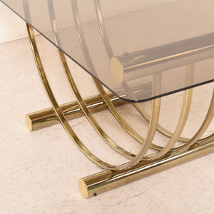 Italian Brass Smoked Glass 1970s Dining Table