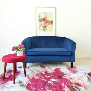 """Vienna"" Blue Velvet Loveseat"