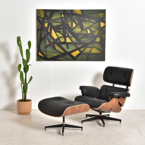 Black Iconic Leather Chair and Ottoman