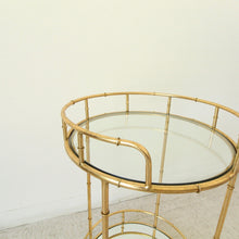 Load image into Gallery viewer, Tropicana Round Gold Bamboo Bar Cart Serving Cart
