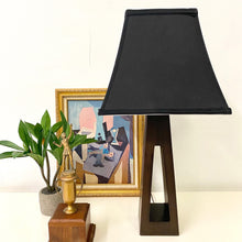Load image into Gallery viewer, Wood Lamp w/Black Tiffany Shade