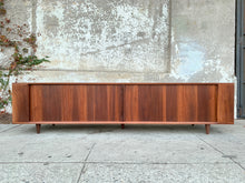 Load image into Gallery viewer, Walnut low  tambour door Low profile credenza with shelf