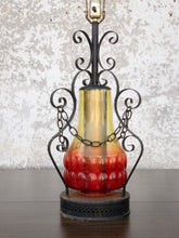 Load image into Gallery viewer, 1970's Wrought Iron and Glass Lamp