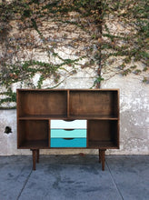 Load image into Gallery viewer, Mid CenturyWalnut Bookshelf with Blue Drawers