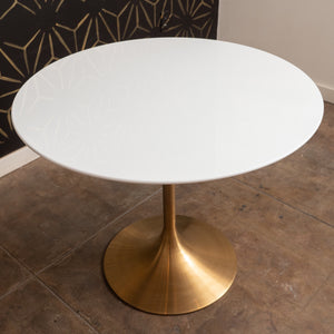 "Mila White & Gold Tulip Table (35""D)"