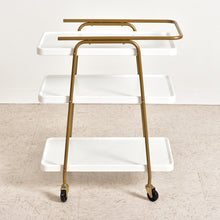 Load image into Gallery viewer, Tabatha White and Gold 3 Tier Barcart