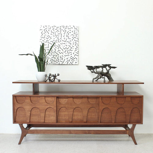 Scandinavian Walnut Credenza with Shelf
