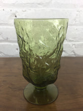 Load image into Gallery viewer, 1-Green Glass Footed Tumbler