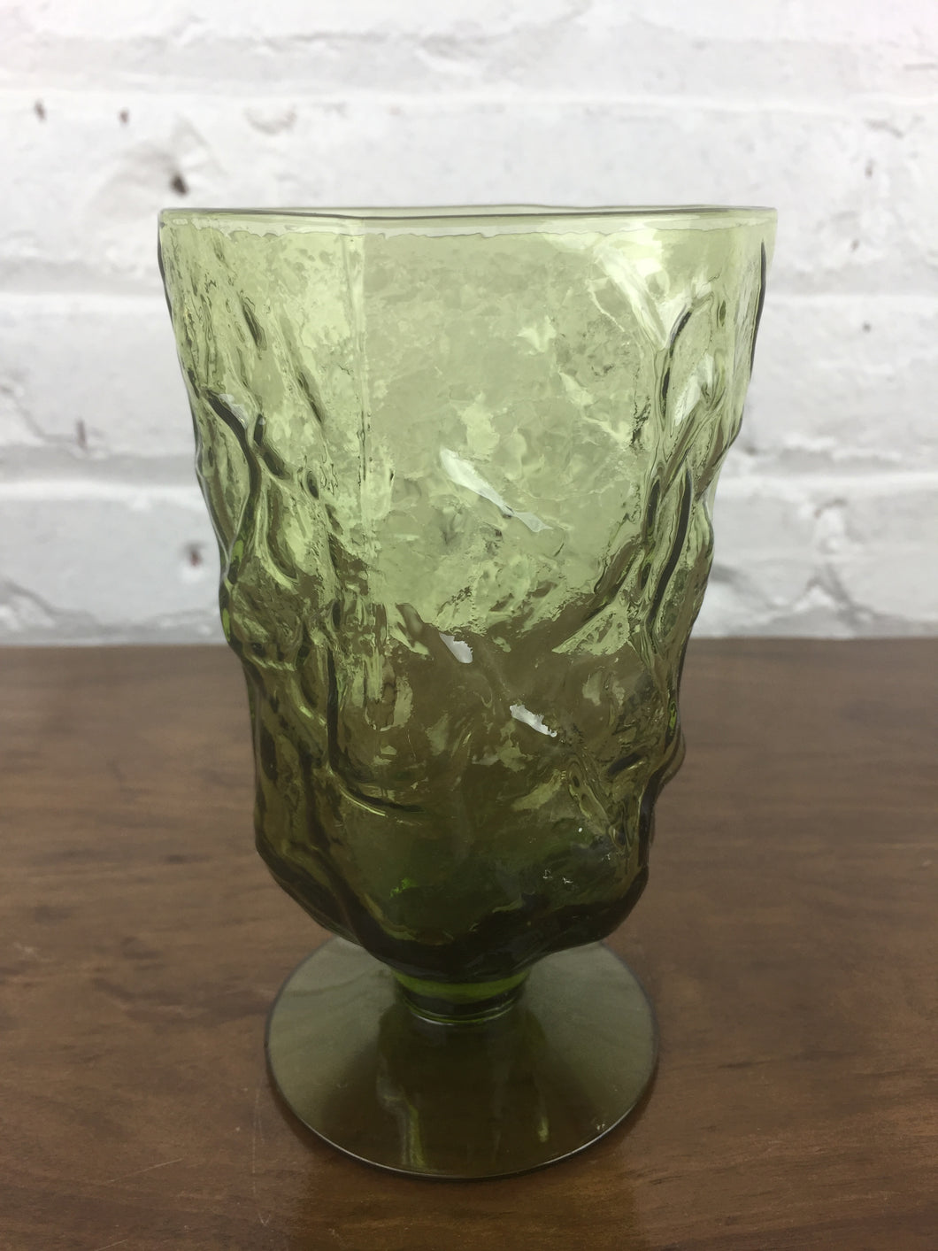 1-Green Glass Footed Tumbler