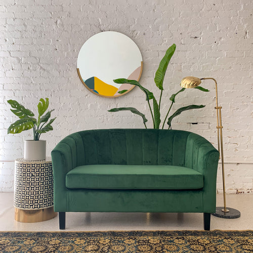 Vienna Forest Green Velvet Loveseat