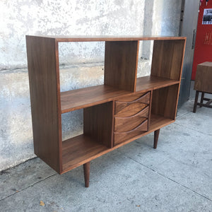 Handmade Walnut Shelving Unit with Sculpted Front Drawers
