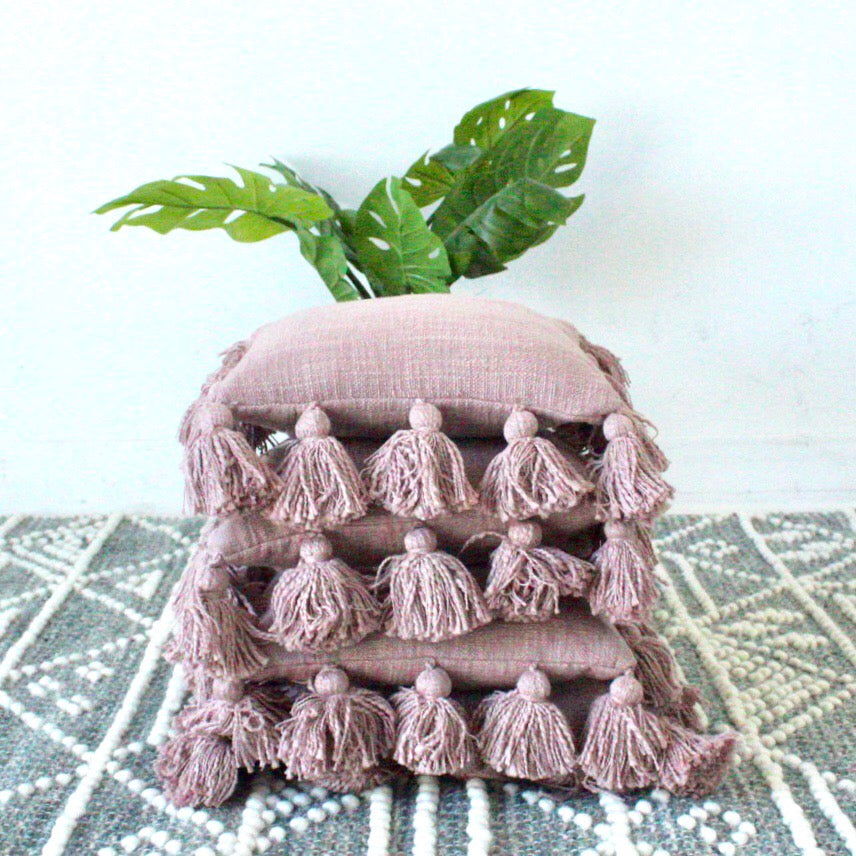 Pink Pillow with tassels