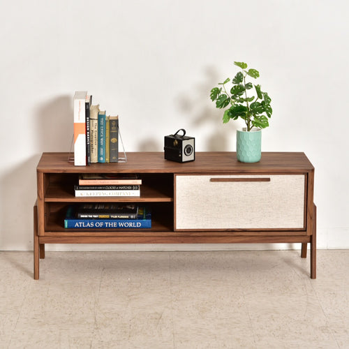 Walnut Sliding Door Credenza