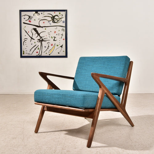 Ziggy Solid Walnut Lounge Chair in Aqua