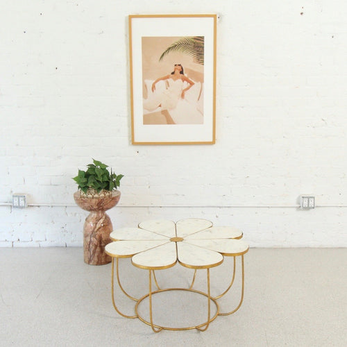 Nina Marble & Gold Flower Coffee Table