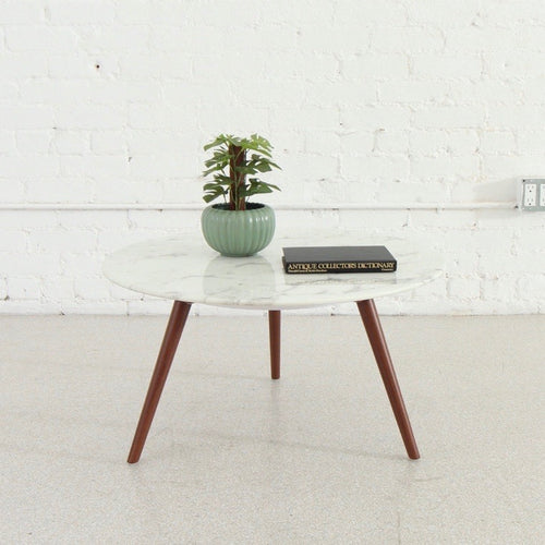 "Pia 28"" Faux Marble Table with Bronze Legs"