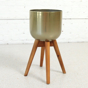 Brisa Gold Planter with Wood Legs