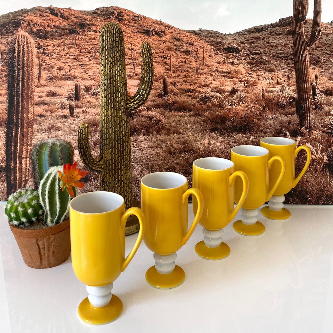Set of Yellow Goblet Cups