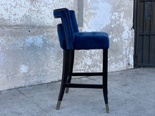 Load image into Gallery viewer, Blue Velvet Counter Stool