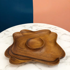 Gorgeous Teak  Flower Dip and Chip Tray