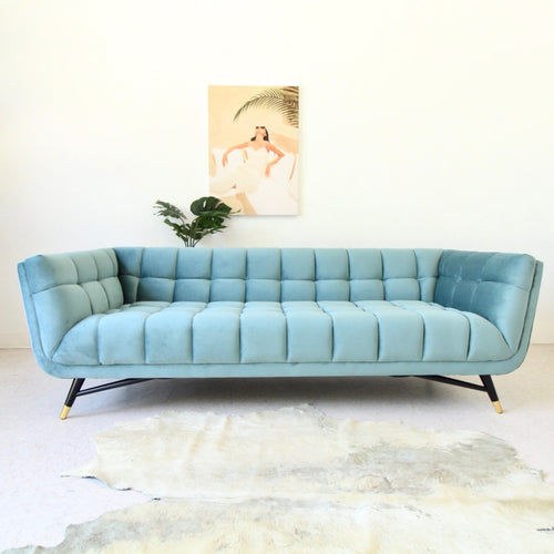 """Gianna"" Biscuit Tufted Sofa In Teal"