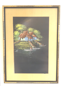 """Back home"" vintage signed painting"