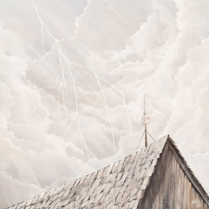 Original  Oil Painting of Sky Above Roof Framed