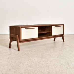 Low Profile Walnut 2 Door Credenza