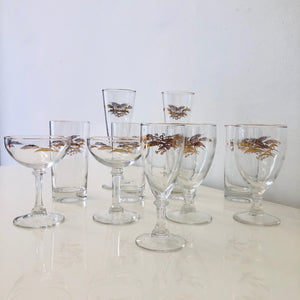Gold wheat Assorted Glasses - set of 9