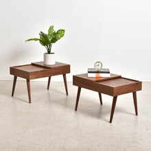"Load image into Gallery viewer, ""Blanche"" Walnut Side Table w/ Hidden Compartment"