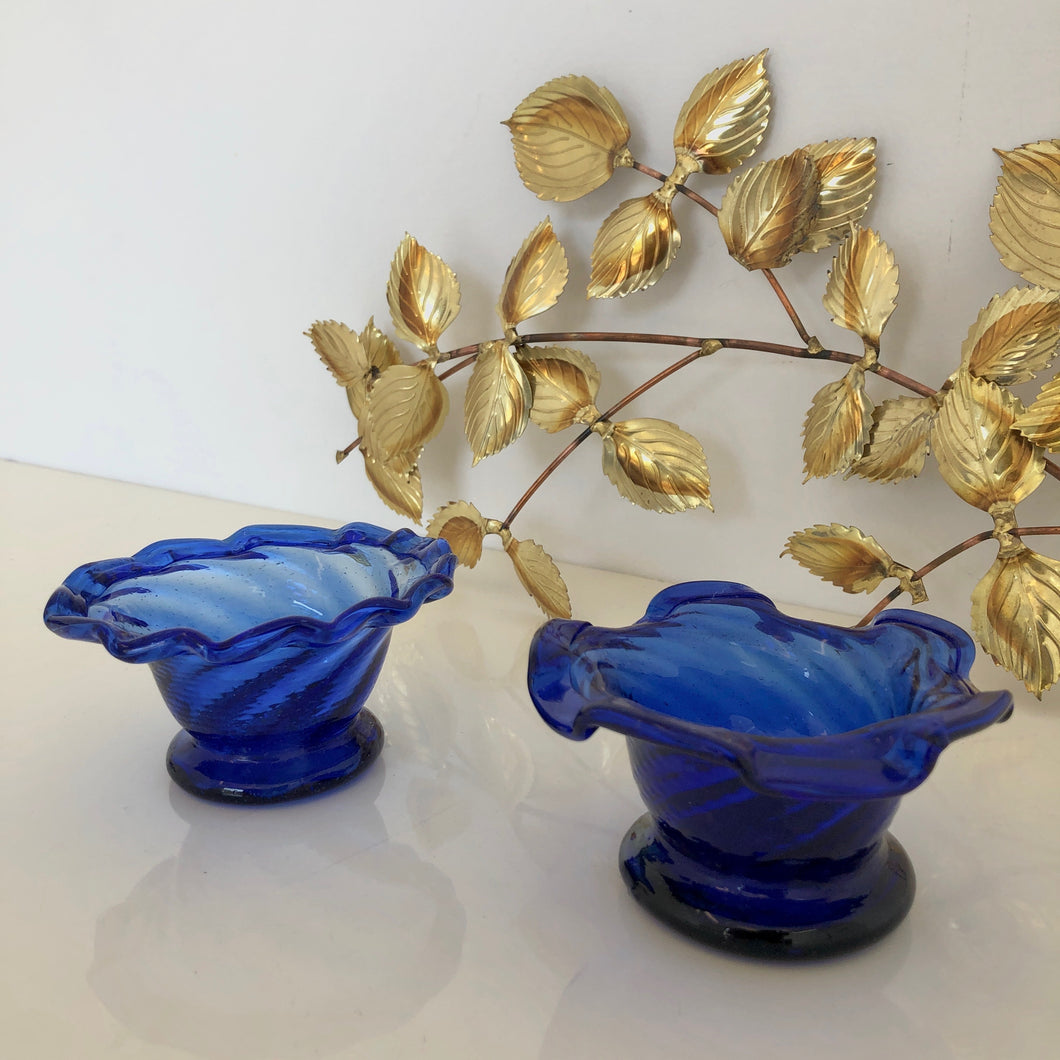 Pair of cobalt   ice cream bowls