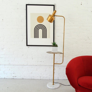 Janae Gold and Marble Table Floor Lamp