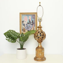 Load image into Gallery viewer, Gold Hollywood Regency Lamp
