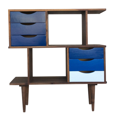 Blue double stack drawer bookshelf
