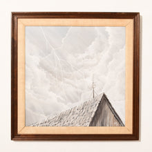 Load image into Gallery viewer, Original  Oil Painting of Sky Above Roof Framed