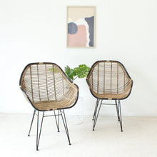 Load image into Gallery viewer, Black and Wicker Boho Chair
