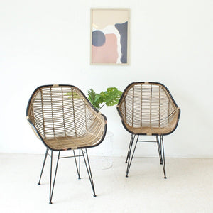 Black and Wicker Boho Chair