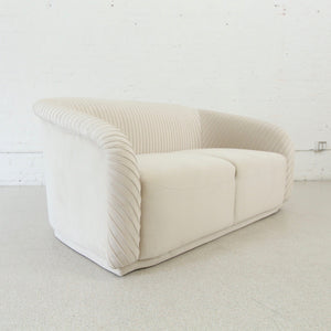 Marina Pleated Loveseat in White
