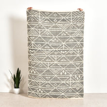 Load image into Gallery viewer, Hand-Woven Wool Rug w/ Pattern, Grey & Cream